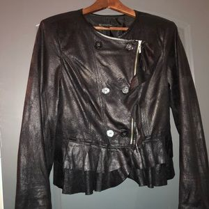 Black faux leather/suede motorcycle jacket